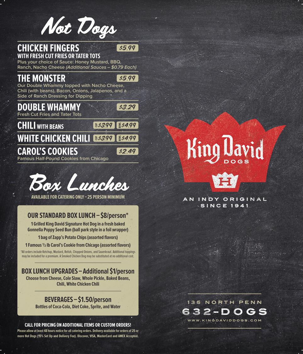 King David Hot Dogs Menu